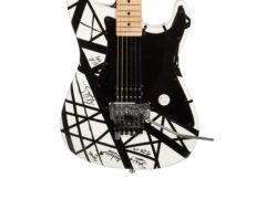 A customised electric guitar once belonging to revered rock star Eddie Van Halen has sold at auction for more than 230,000 dollars (about £173,000) (Julien's Auctions/PA)
