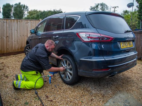 The new tyre was fitted and the S-Max was on its way once again