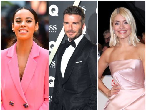Rochelle Humes, David Beckham and Holly Willoughby (PA)