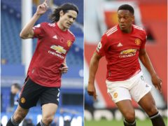 Edinson Cavani and Anthony Martial will miss Manchester United's match with Leipzig (Clive Brunskill/Martin Rickett/PA).