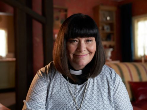 WARNING: Embargoed for publication until 00:00:01 on 28/11/2020 – Programme Name: The Vicar Of Dibley in Lockdown – TX: 07/12/2020 – Episode: The Vicar Of Dibley in Lockdown (No. n/a) – Picture Shows: The Reverend Geraldine Granger (DAWN FRENCH) – (C) Tiger Aspect Productions Ltd – Photographer: Des Willie