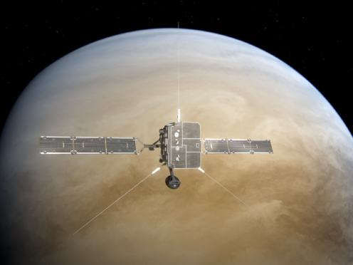 Artist's impression of Solar Orbiter making a flyby at Venus (ESA/ATG medialab)