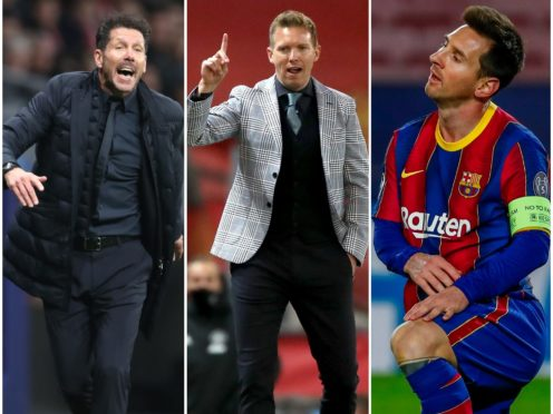 Diego Simeone, Julian Nagelsmann and Lionel Messi could all come up against English teams in the Champions League last 16 (Nick Potts/Joan Monfort/AP/PA Images)