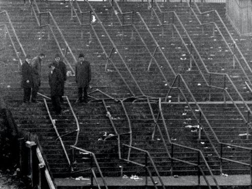 The crushed barriers at Ibrox, where 66 people died after the 1971 disaster (PA)