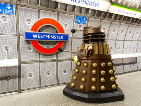 A Dalek on the platform at Westminster Underground station (BBC)