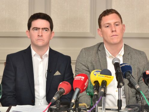 John McAreavey, right, and Mark Harte, brother of murdered honeymooner Michaela McAreavey, during a press conference at the Labourdonnais Hotel in Port Louis, Mauritius (Charles Chan/PA)