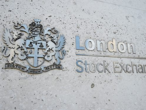 A view of the London Stock Exchange sign in the City of London, as the FTSE 100 Index slipped lower (Kirsty O'Connor/PA)