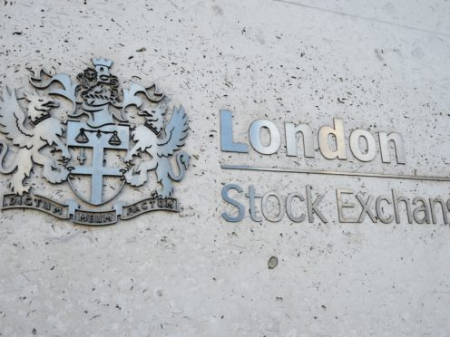 A view of the London Stock Exchange sign in the City of London, as the FTSE 100 tumbled lower on poor economic figures (Kirsty O'Connor/PA)