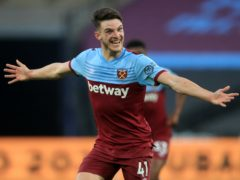 Declan Rice praised an artist's impression of this celebration (Adam Davy/NMC Pool/PA)