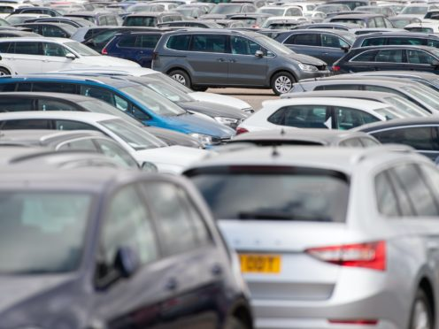 Thousands of used cars lined up at a site in Corby, Northamptonshire, waiting to be distributed to car dealerships around the UK.