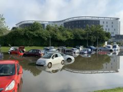 Flooding at Queen Victoria Hospital car park in Kirkcaldy (Emma O'Neill/PA)