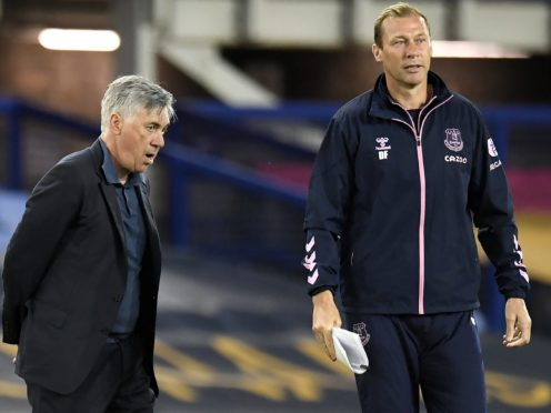 Everton manager Carlo Ancelotti (left) with assistant Duncan Ferguson after the Carabao Cup second round match at Goodison Park, Liverpool.