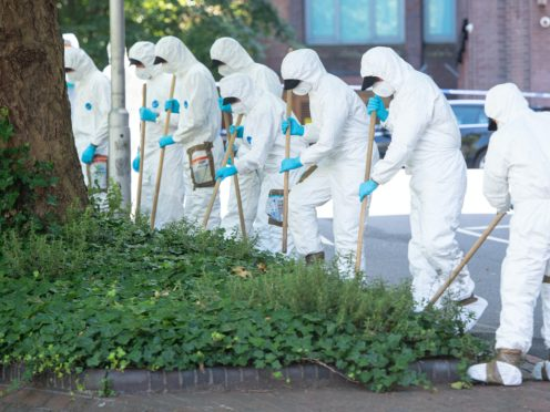 Forensics officers carrying out a search near the scene of the incident in Forbury Gardens last summer (Dominic Lipinski/PA)
