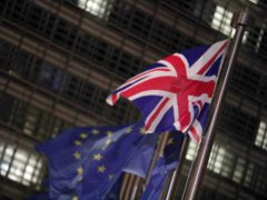 The Union flag flies outside the Berlaymont building, the Headquarters of the European Commission in Brussels, for the first time this year ahead of the visit by British Prime Minister Boris Johnson.
