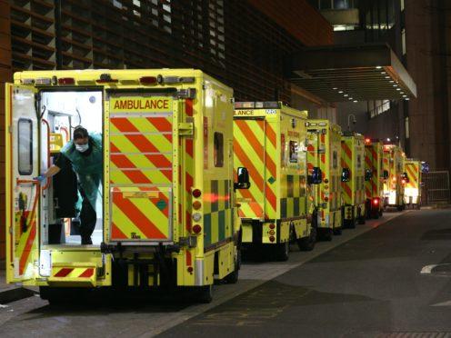 Ambulance queues outside the Royal London Hospital earlier this week (Yui Mok/PA)