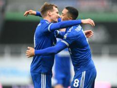 Leicester City's Youri Tielemans (right) celebrates scoring his goal (Michael Regan/PA)
