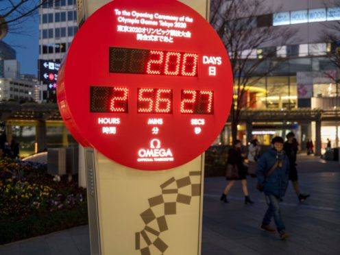 A countdown clock shows the time to go until the rescheduled Tokyo 2020 Games (Kiichiro Sato/AP)