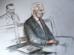 Court artist sketch of Julian Assange at the Old Bailey (Elizabeth Cook/PA)