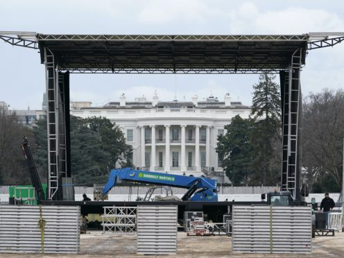 A stage is set up on the Ellipse near the White House in preparation for a rally on January 6 (Susan Walsh/AP)