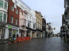 A deserted High Street in Guildford, Surrey (Adam Davy/PA)