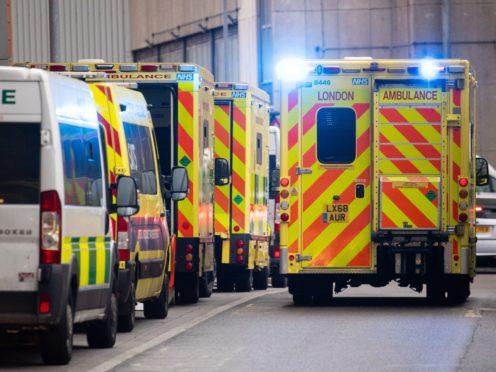 Ambulances outside the Royal London Hospital on January 5 2021 (Dominic Lipinski/PA)