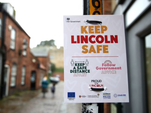 A 'keep Lincoln safe' sign in Lincoln city centre (Tim Goode/PA)