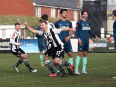 Chorley's Connor Hall (second left) celebrates scoring the opening goal against Derby (Martin Rickett/PA)