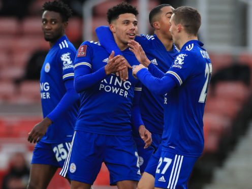 James Justin (centre) put Leicester 1-0 up at Stoke with a superb strike (Mike Egerton/PA).