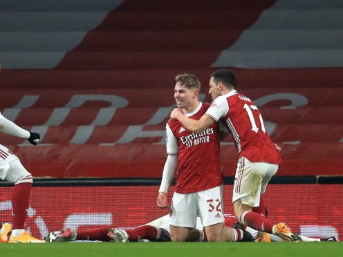 Emile Smith Rowe, second right, scored his second goal of the season to help Arsenal reach the FA Cup fourth round (Adam Davy/PA)