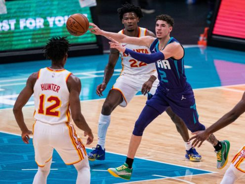 Charlotte Hornets guard LaMelo Ball (2) in action in his side's win over the Atlanta Hawks on Saturday night (Jacob Kupferman/AP)