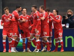 Crawley celebrate in their shock win against Leeds (Adam Davy/PA).