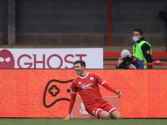 Crawley's Jordan Tunnicliffe celebrates scoring (Adam Davy/PA)