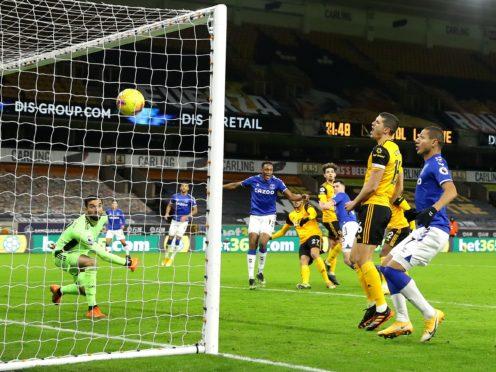 Michael Keane scorers Everton's winner at Wolves (Richard Heathcote/PA)