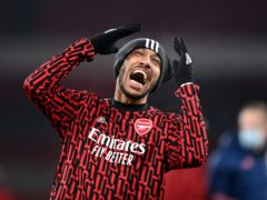 Pierre-Emerick Aubameyang may not feature against Manchester United (Neil Hall/PA)