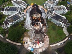 A government building is seen badly damaged following an earthquake in Mamuju, West Sulawesi, Indonesia (Abdi Latief/AP)