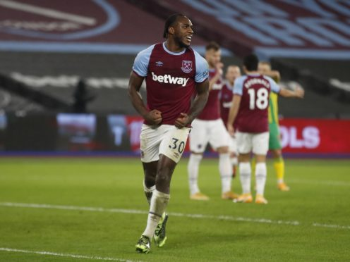 Michail Antonio celebrates scoring West Ham's winning goal (Matthew Childs/PA)