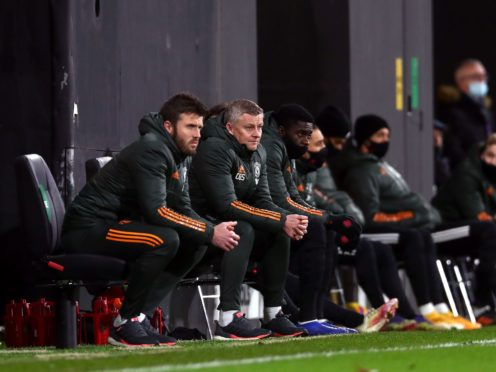 Ole Gunnar Solskjaer, second left, saw his side beat Fulham (Clive Rose/PA)