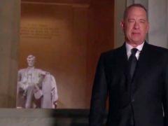 Tom Hanks hosted the Celebrating America TV special to mark Joe Biden's inauguration (Biden Inaugural Committee via AP)