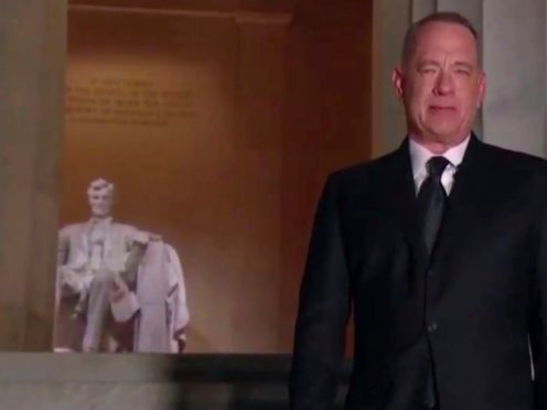 Tom Hanks hosted the Celebrating America TV special to mark Joe Biden's inauguration (Biden Inaugural Committee via AP)
