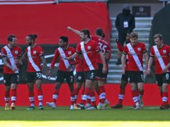 Southampton celebrate their winning goal against Arsenal (Catherine Ivill/PA)