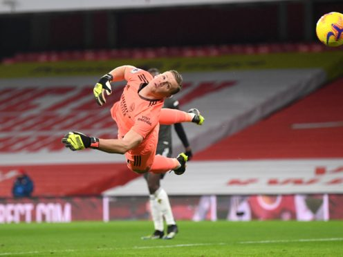Arsenal goalkeeper Bernd Leno blocks a shot (Sean Botterill/PA)