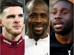 Declan Rice (left), Yaya Toure and Sol Bamba (Julian Finney/Martin Rickett/Jacob King/PA)