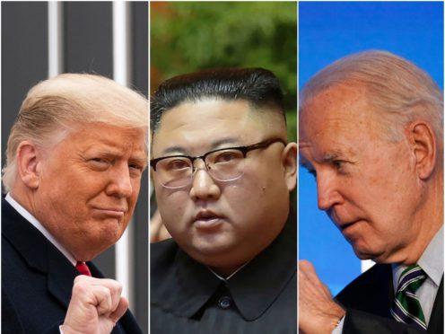 Donald Trump, Kim Jong Un and Joe Biden (Alex Brandon/North Korea/Matt Slocum/AP)