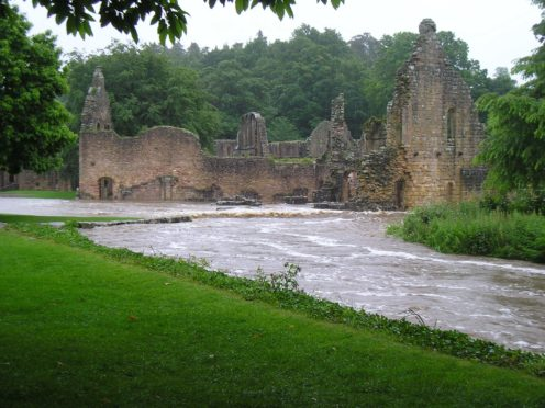 Flooding at Fountains Abbey in June 2007 (National Trust/PA)