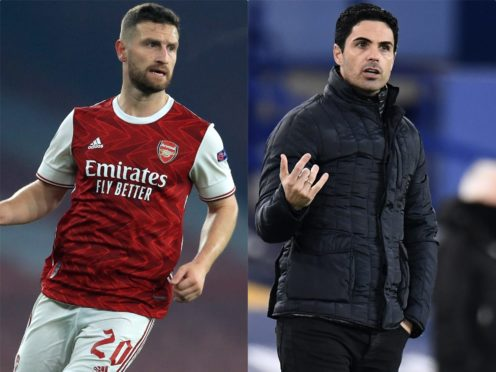The future of Shkodran Mustafi (left) lies at Arsenal right now, according to Mikel Arteta (right) (Adam Davy/Peter Powell/PA)