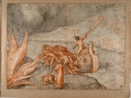 Caronte, one of 88 drawings by artist Federico Zuccari to illustrate Dante's Divine Comedy (Roberto Palermo/Uffizi Gallery/AP)