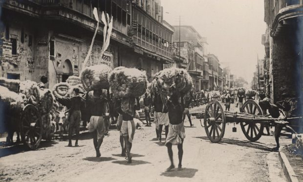 Jute being taken to be pressed in India in the 1930s.