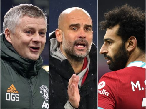 Ole Gunnar Solskjaer, left and Pep Guardiola have their teams flying high while Mohamed Salah, right, narrowly leads the Golden Boot race ( Clive Brunskill/Peter Powell/PA)