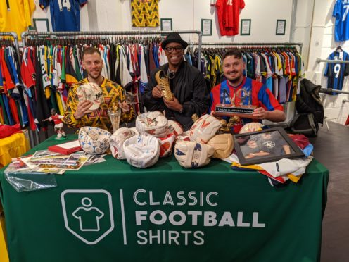 Ian Wright is reunited with football memorabilia from his playing career, with Classic Football Shirts (Classic Football Shirts and Serpentine Production)
