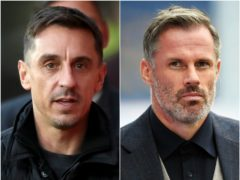 Gary Neville (left) made fun of Jamie Carragher's book (Martin Rickett/Peter Powell/PA)